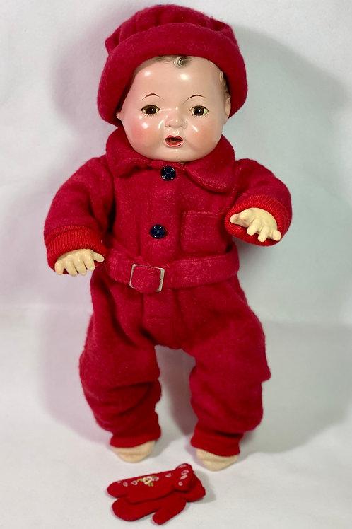 "Vintage 1940s Original Effanbee 15"" Dy-Dee RED Snowsuit"