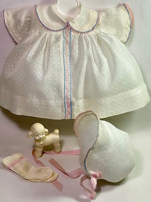 "1940s Original Effanbee 15"" Dy-Dee Dress Set - White Dotted Swiss"