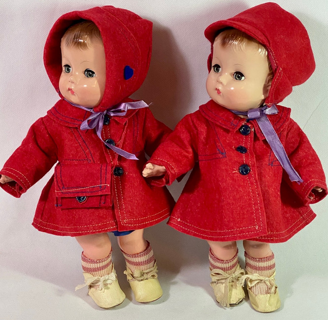 1946 Effanbee Candy Kid Twins Boxed Set Factory Original Composition Dolls