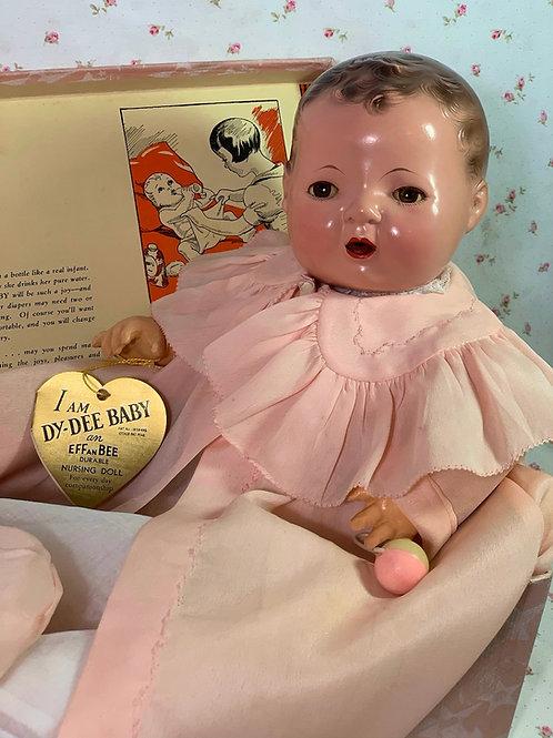 "Vintage 1930's Effanbee Original 15"" Mold 1 Dy-Dee Baby Doll in Box"