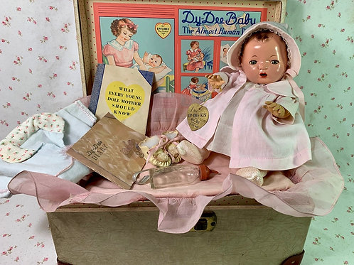 """Vintage 1937 Mold 1 Effanbee 13"""" Dy-Dee Doll TRUNK SET with Original Ad"""