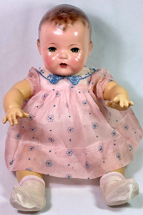 """1930s Original Effanbee 20"""" Dy-Dee Lou Dress -- Pink Organdy"""