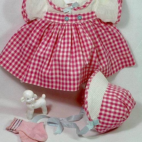 """1940s Original Effanbee 15"""" Dy-Dee Dress Set -- Deep Pink Gingham"""