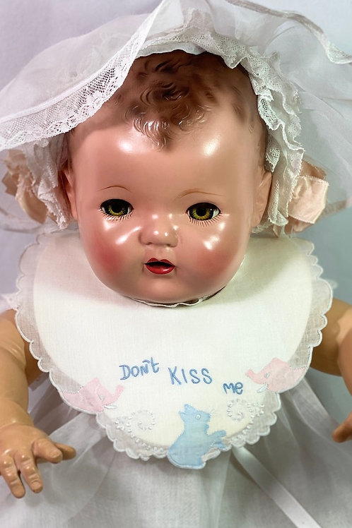 "Vintage 1930s ""Don't Kiss Me"" Bib and 1940s Rare Celluloid Hanger"
