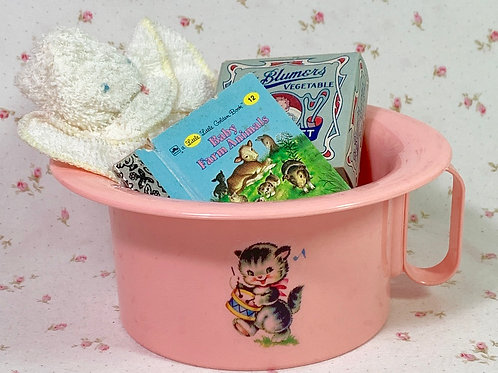 """Vintage Dy-dee Tiny Tears Pink Kitten Potty with """"Essentials"""""""