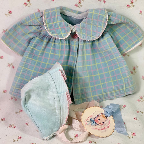 "Easter Pastels Vintage Corduroy Coat and Bonnet for 13"" to 14"" Dolls"