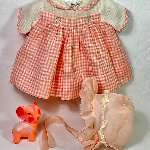 "1940s Original TAGGED Effanbee 15"" Dy-Dee Dress Set -- Orange Gingham #2"