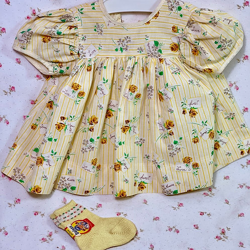 """Vintage 1950s American Character 15"""" Tiny Tears Baby Yellow """"SWEETHEART"""" Dress"""