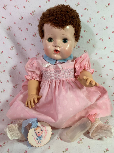 """Vintage 1950s American Character 18"""" Caracul Tiny Tears Doll"""