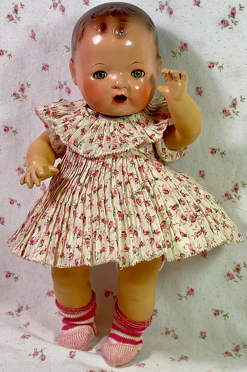 "Vintage 1930s Rosebud Dress and Snowman Diaper for 11"" Effanbee Dy-Dee Ette"