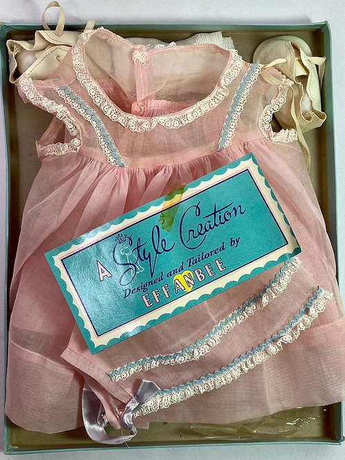 "1940s Original Effanbee 20"" Dy-Dee Lou Dress Set - Pink Organdy"