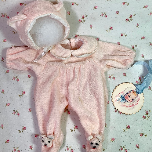 """Pair Pink Baby BEAR Footed Pajamas for 11"""" Tiny Tears / Dy-Dee"""