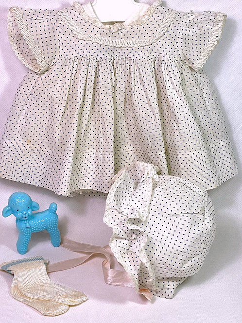 "Original Effanbee 15"" Dy-Dee Dress Set -- Blue Polka Dot"