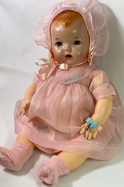1930s Original Effanbee Dy-Dee Lou Dress Set -- Pink Organdy