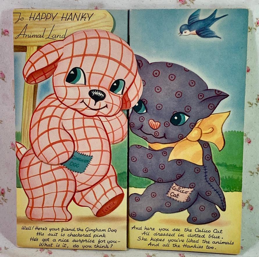 "Vintage Childs Hanky Book ""Animal Land"" 6 Child's Hankies, NRFB"