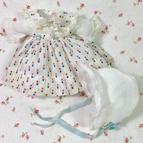"9"" Dy-Dee WEE Vintage 1930's Effanbee Factory Baby Doll DIMITY DRESS Set"