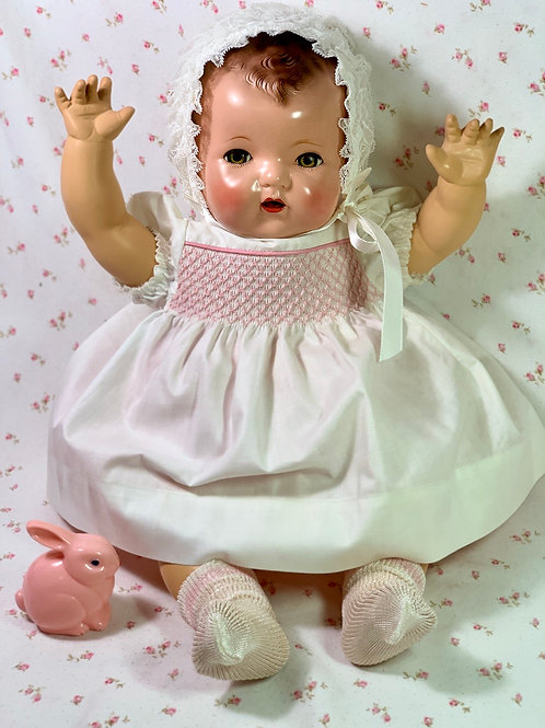 """Vintage WHITE with Smocking for Effanbee 20""""Dy-Dee Lou Baby"""