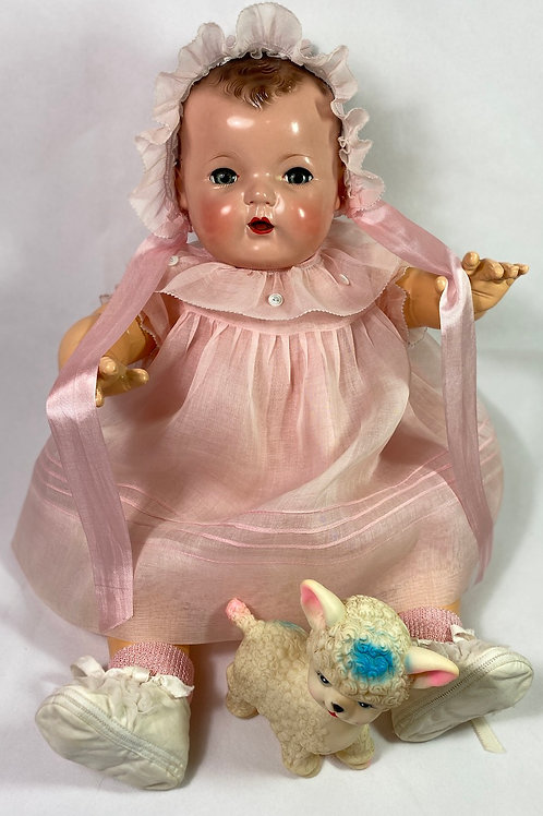 1940s Original Tagged Effanbee Dy-Dee Lou Dress Set -- Pink Org