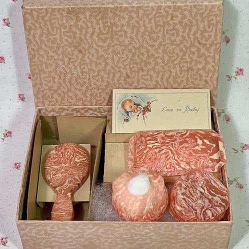 RARE PINK Mottled Vintage 1940s Effanbee Dy-Dee Doll Celluloid Vanity Set