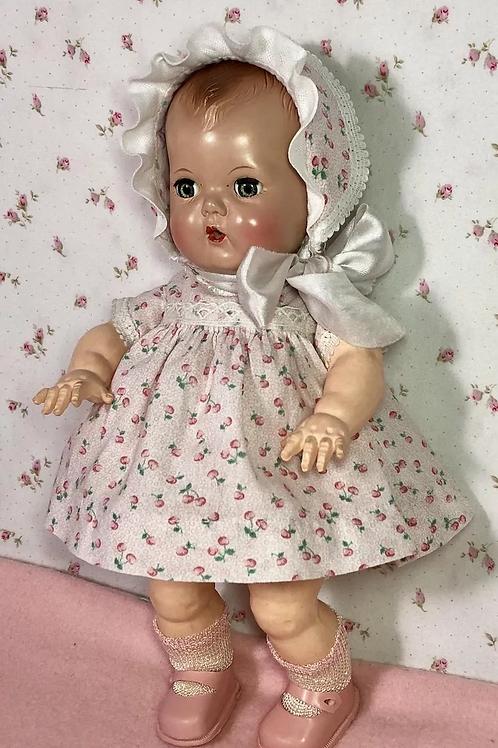 "11.5"" Tiny Tears / Dy-Dee Early 1950's Dress Set -- Cherries"