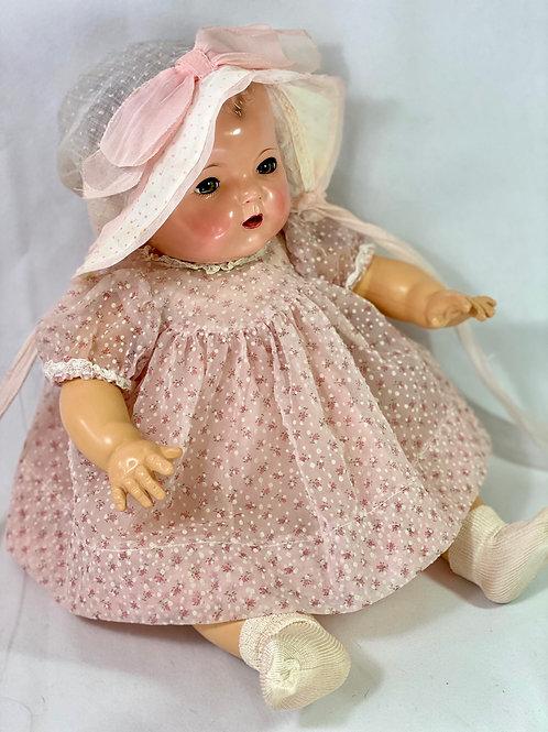 1940s Original Effanbee Dy-Dee Lou Pink Dress Set -- Flocked Dotted Swiss