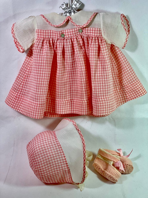 "1940s Original Effanbee 20"" Dy-Dee Lou Dress Set -- Salmon Pink Gingham"
