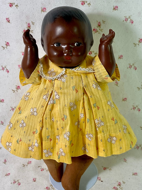 """1920s Effanbee 10"""" African American Black Compo Baby Doll"""