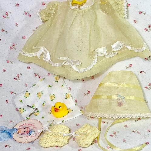 "Vintage Yellow Dotted Swiss Dress Set for 11"" to 12"" Baby Dolls"