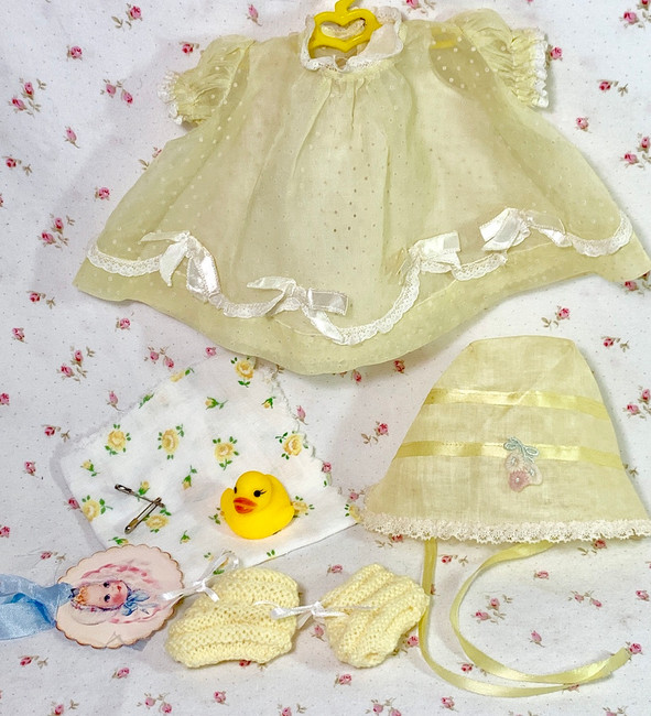 """Vintage Yellow Dotted Swiss Dress Set for 11"""" to 12"""" Baby Dolls"""