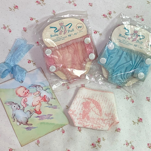 """TINY Bear Theme Diaper and Rubber Panties for 7"""" to 8"""" Doll"""