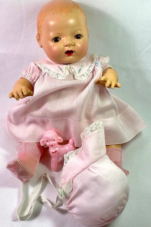 "1930s Original Effanbee 15"" Dy-Dee Molly'es Pink Dimity Dress Set"