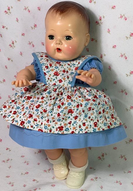 "Vintage 1940s 13"" to 14"" Baby Doll Blue Dress and Pinafore"