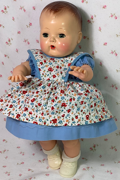 """Vintage 1940s 13"""" to 14"""" Baby Doll Blue Dress and Pinafore"""