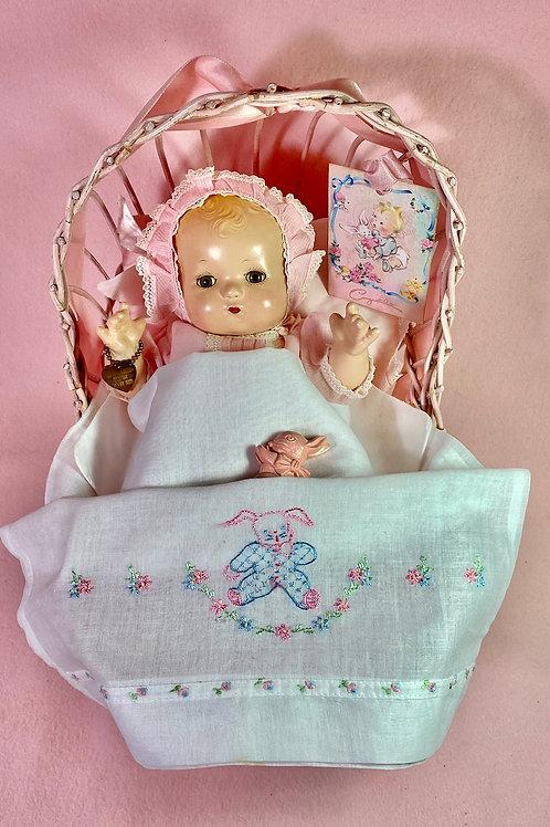 "1930s Vintage Effanbee 10"" Patsy Babykin in Cradle"