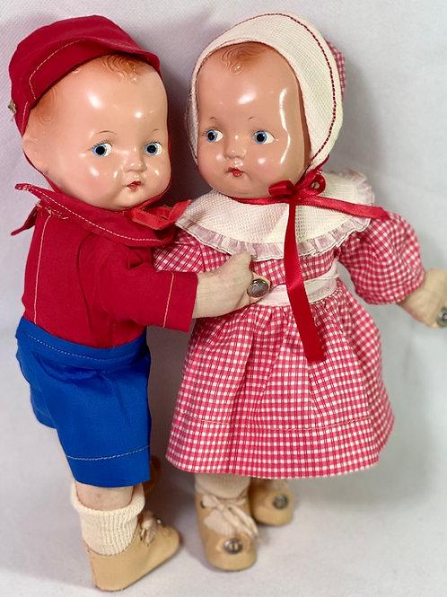 Earliest 1930s Effanbee 1st Ed Dancing Patsy Baby Kin Twin Dolls