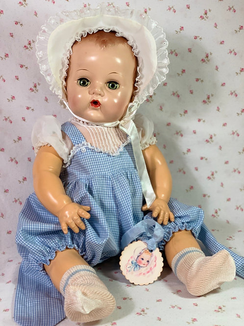 "Vintage 1950's Blue PARTY Gingham Sunsuit Set for 20"" Effanbee Dy-Dee Lou Baby"