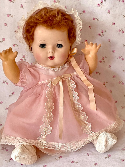 "1940s Effanbee 15"" Dy-Dee Jane Baby Doll with RARE RED Rabbit Skin Wig"