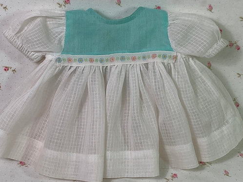 "Vintage Window Pane Dimity Dress for 13.5"" Tiny Tears"
