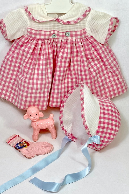 "Original Effanbee 15"" Dy-Dee Dress Set -- Dark Pink Gingham"