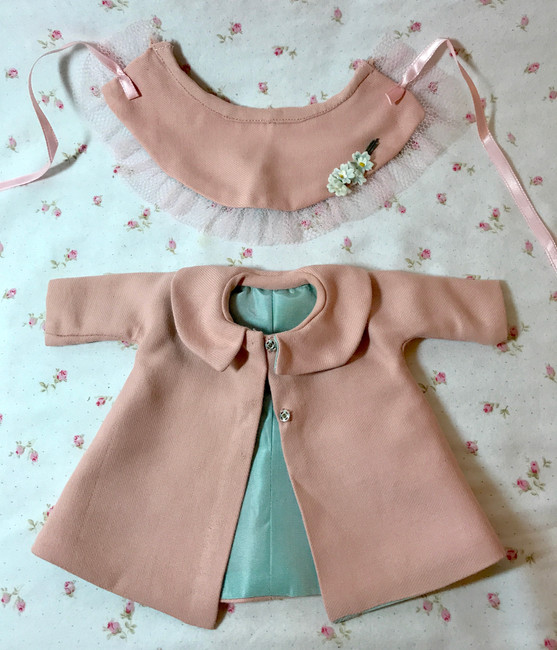 """1940's Pink Wool Coat and Bonnet Set for 10"""" to 11"""" Doll"""