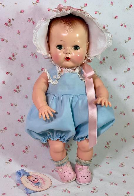 """Vintage 1950's Blue Sunsuit Sun Suit Set for 13.5"""" Tiny Tears Baby"""