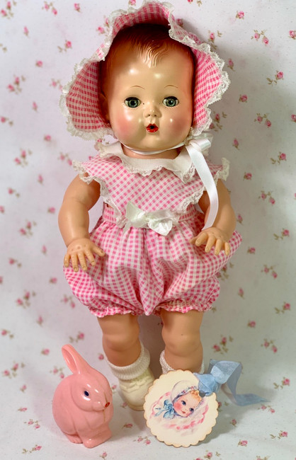 """Vintage 1950's Pink Gingham Sunsuit Set for 13.5"""" Tiny Tears Baby"""