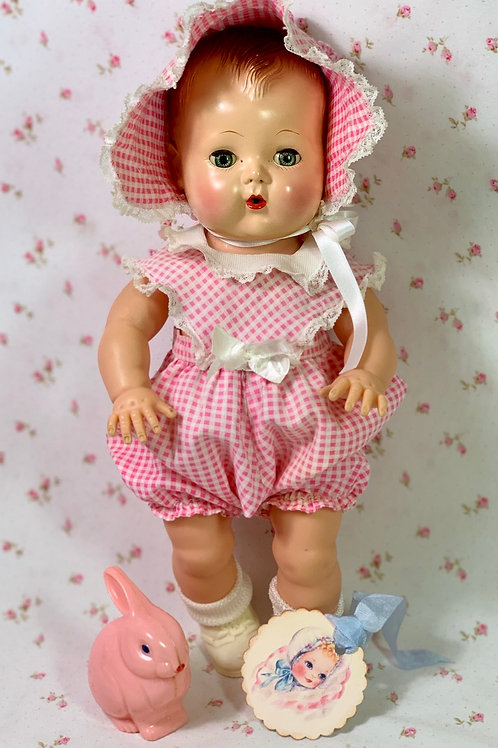 "Vintage 1950's Pink Gingham Sunsuit Set for 13.5"" Tiny Tears Baby"