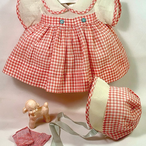 "1940s Original Effanbee 15"" Dy-Dee Dress Set -- Orange Gingham"