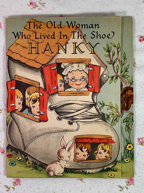 1940 Vintage Child's Hanky Card Old Woman In Shoe with Original Hanky Mint