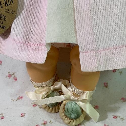 "Vintage 1937 Rare Blue Pom Pom Shoes for 13"" Effanbee Dy-Dee Kin Doll"