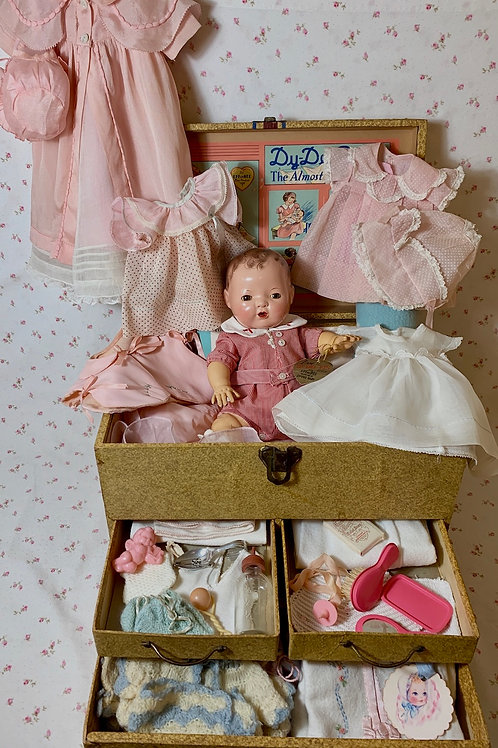 """1930s Mold 1 Effanbee 13"""" Dy-Dee KIN Doll with EVERYTHING"""