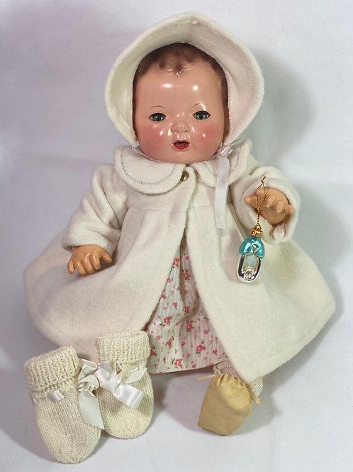 "Vintage 1930s Original Effanbee 15"" Dy-Dee Jane WHITE Eiderdown Coat"