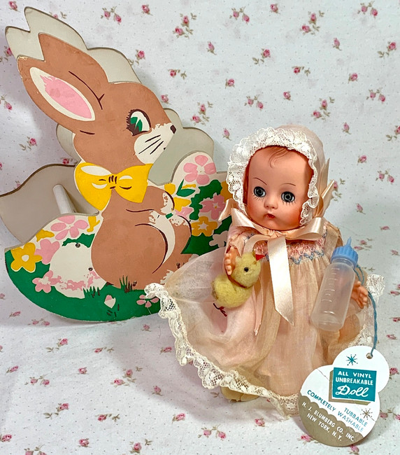 Vintage 1950s Rocking Rabbit Toy with Ginnette LAL by Blumberg Toy Co
