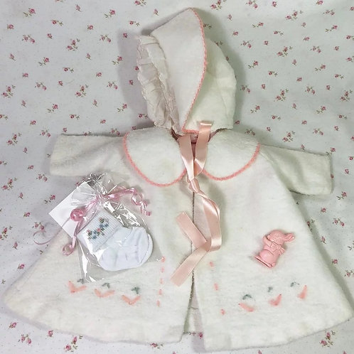 Eiderdown Effanbee Dy-Dee Lou WHITE Coat & Bonnet & Socks Set